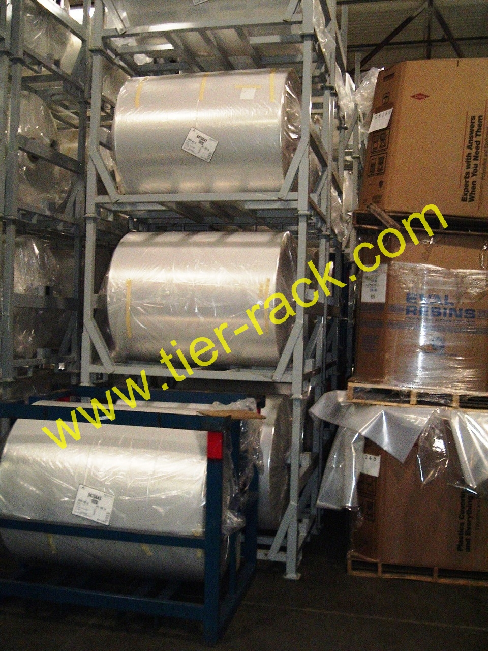 Add Tier-Rack Suspended Roll Racks to your Production Line - Tire racks, stack racks, shipping ...